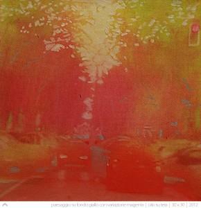 paesaggio-su-fondo-giallo-con-variazone-magenta---30x30---2012